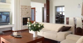 Nice living room with big screen tv and fireplace